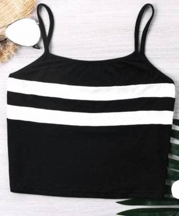 Camisa negra con rayas blancas NUEVA